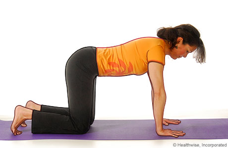 Picture of a woman in step one of the yoga cat cow pose