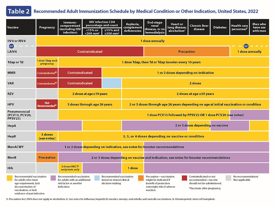 Recommended adult immunization schedule - U.S. (page 2)