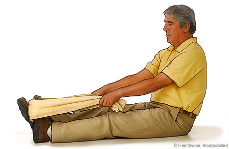 Towel stretch exercise