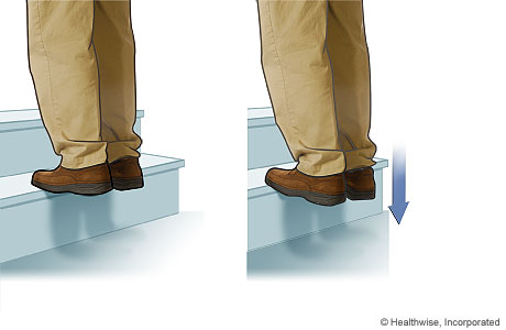 Stretching exercise for the plantar fascia and calf