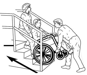 Two people take person in wheelchair up set of stairs