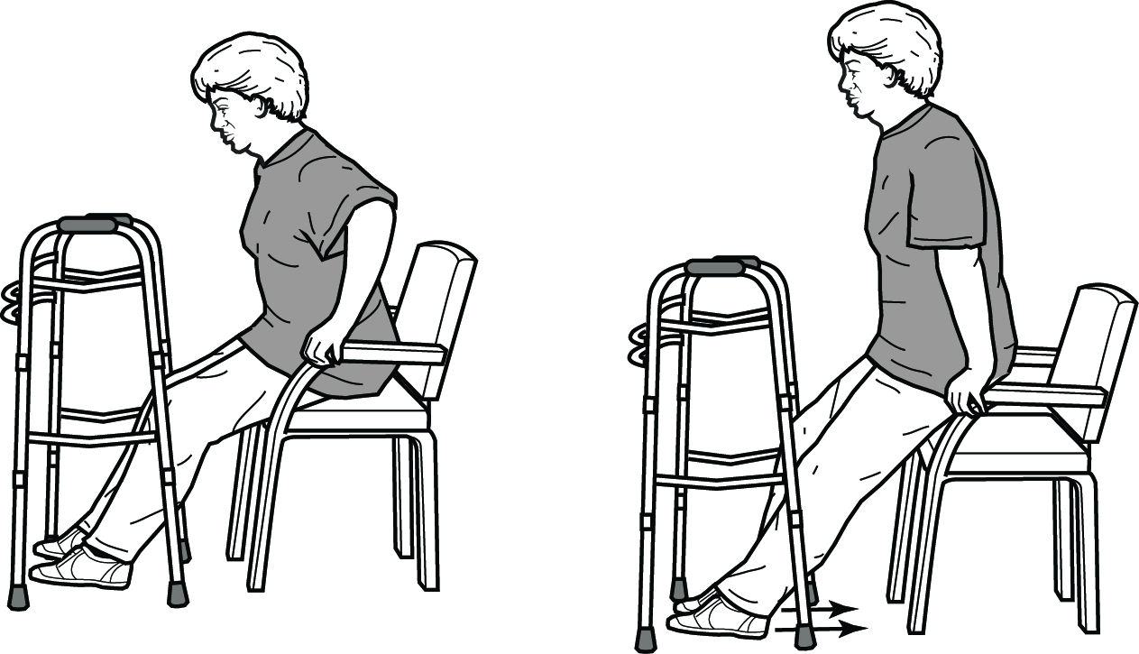 Standing up with a walker steps 1 and 2