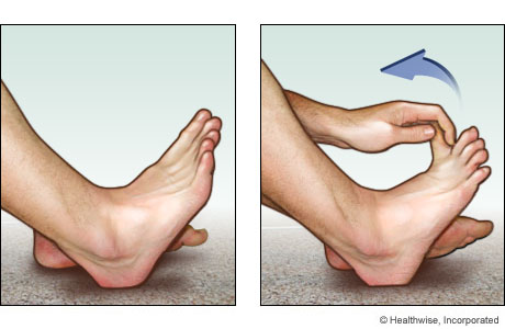Toe stretch for the bottom of the foot