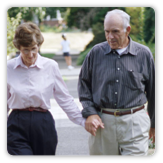 Photo of an older couple walking