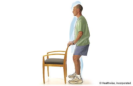 Man doing shallow standing knee bends