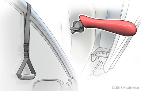 Placement of strap on top of car door window frame and grab bar in latch on car body door frame