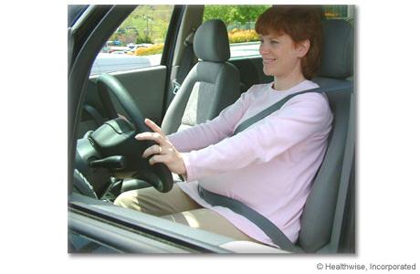 Proper position of a seat belt during pregnancy